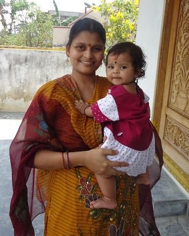Nithya with mamma