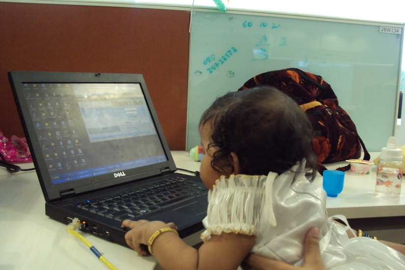 Nithya @ my work place :) Taken over my job for the day