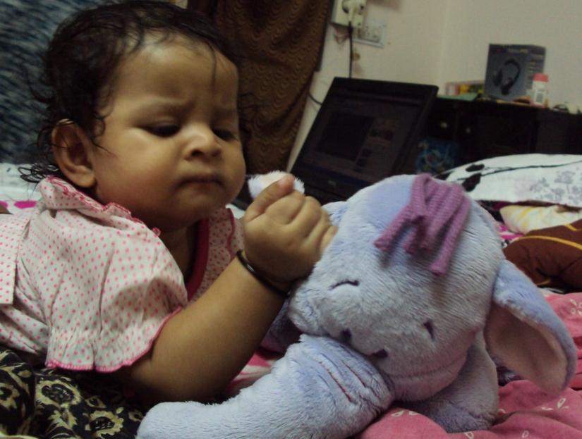 Nithya busy doing health-check to her ganesha