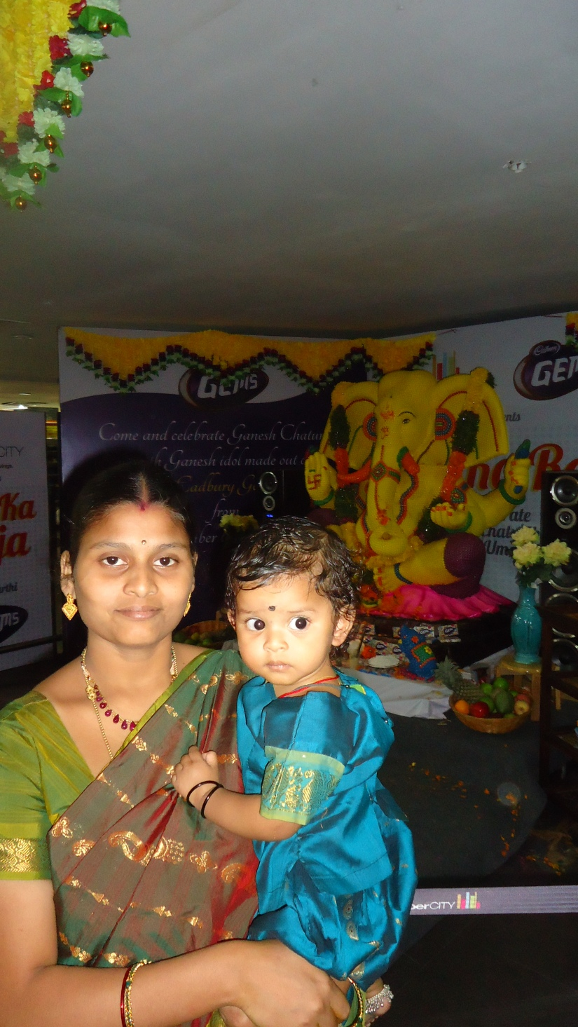 with amma and Vinayakudu made of Cadbury Gems ;)