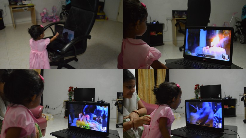 Celebration at Mama's house in Vizag over skype
