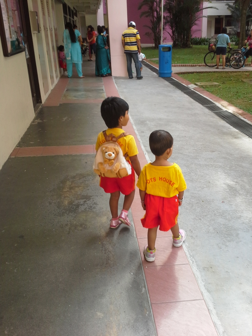Nithya and her friend Lasya going to school