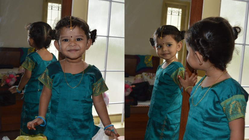 nithya not aware that later in the day this hair will be missing :)